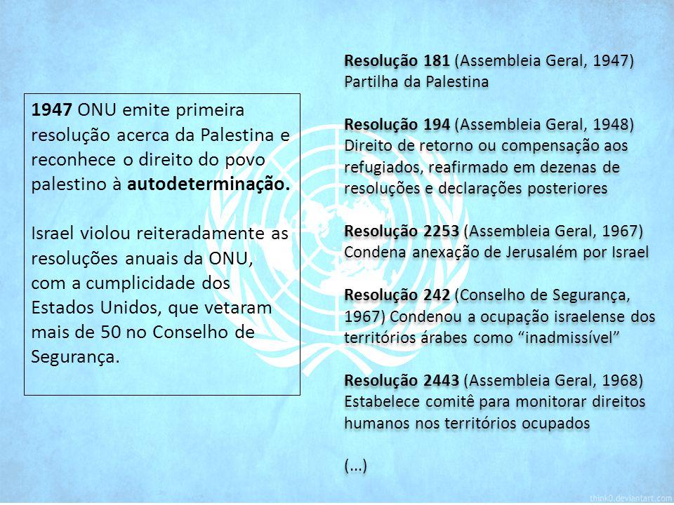 1947 ONU emite primeira resolução acerca da Palestina e reconhece o direito do povo palestino à autodeterminação.