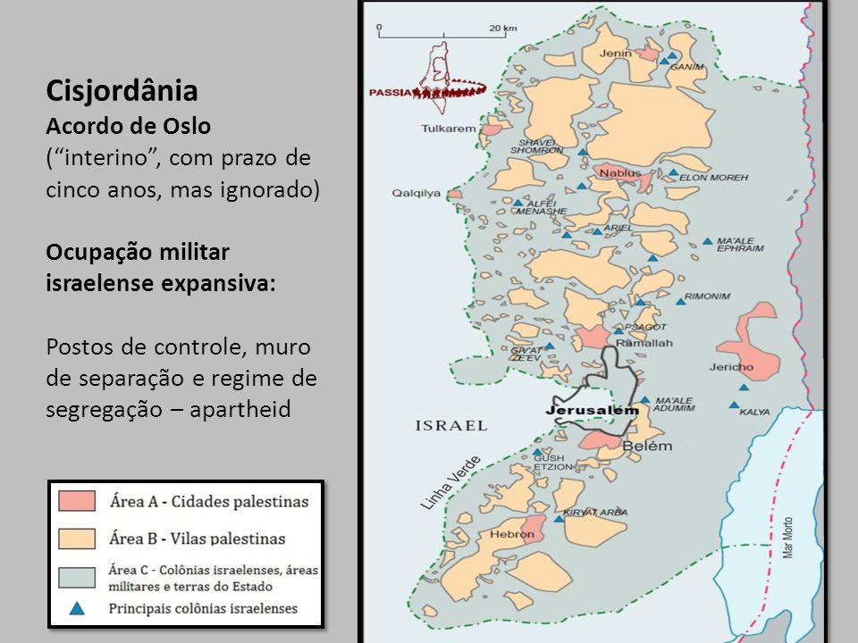 Cisjordânia Acordo de Oslo ( interino , com prazo de cinco anos, mas ignorado) Ocupação militar israelense expansiva: Postos de controle, muro de separação e regime de segregação – apartheid