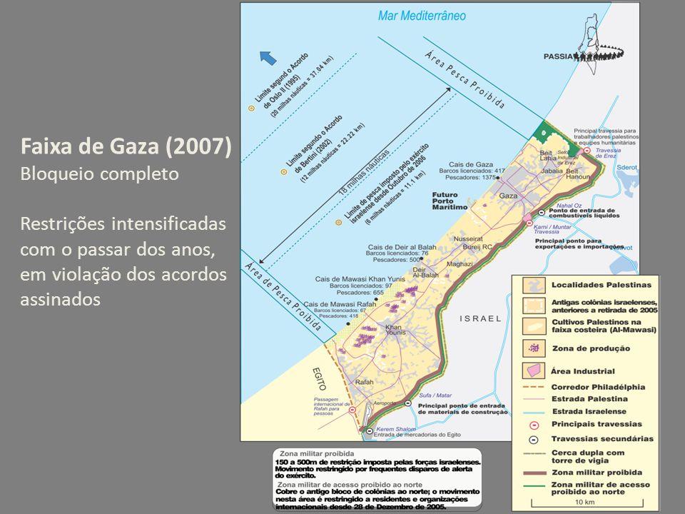 Faixa de Gaza (2007) Bloqueio completo Restrições intensificadas com o passar dos anos, em violação dos acordos assinados