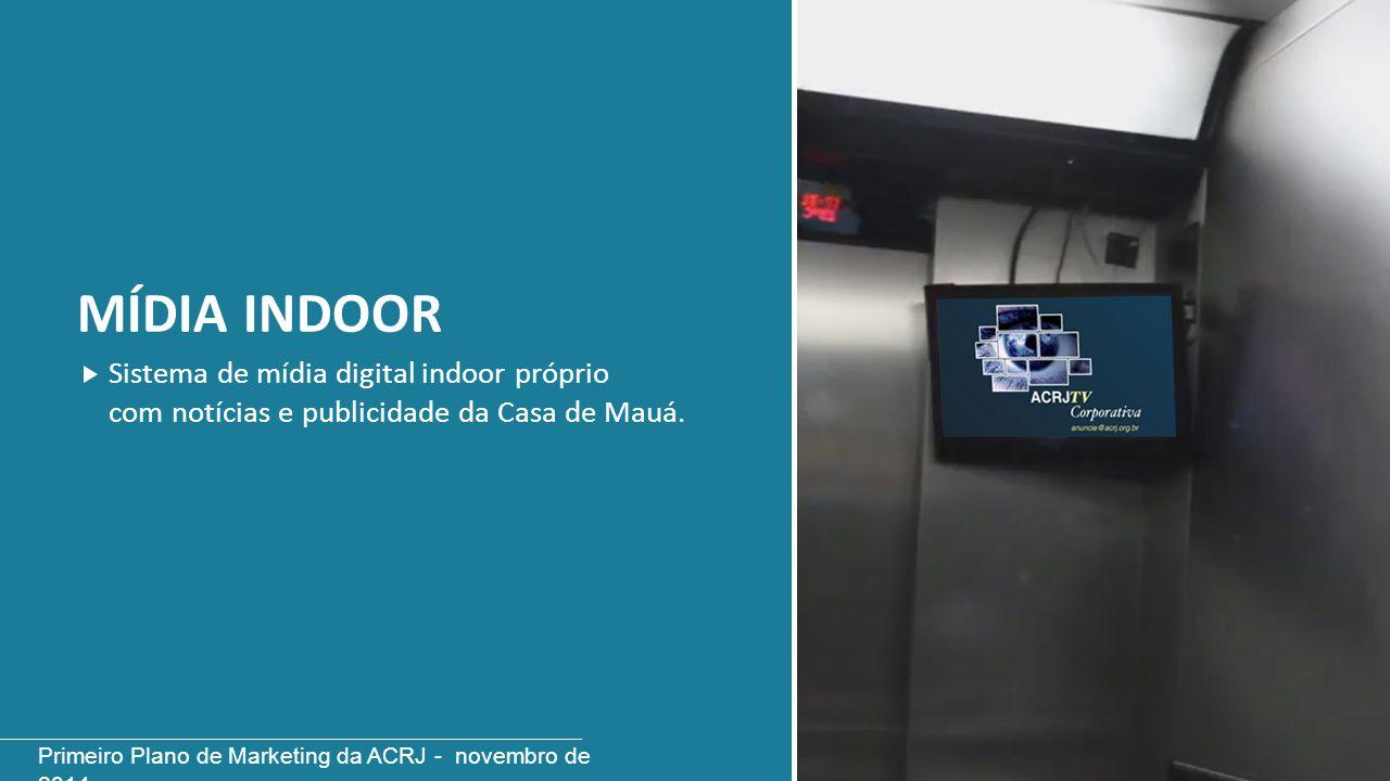MÍDIA INDOOR Sistema de mídia digital indoor próprio com notícias e publicidade da Casa de Mauá. Primeiro Plano de Marketing da ACRJ - novembro de 201