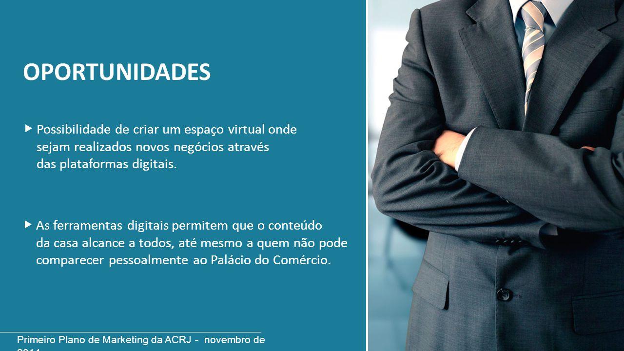 OPORTUNIDADES Possibilidade de criar um espaço virtual onde sejam realizados novos negócios através das plataformas digitais. As ferramentas digitais