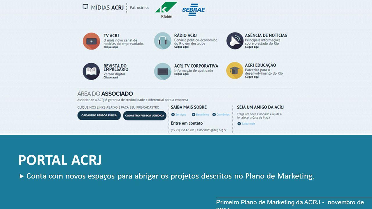 PORTAL ACRJ Conta com novos espaços para abrigar os projetos descritos no Plano de Marketing. Primeiro Plano de Marketing da ACRJ - novembro de 2014