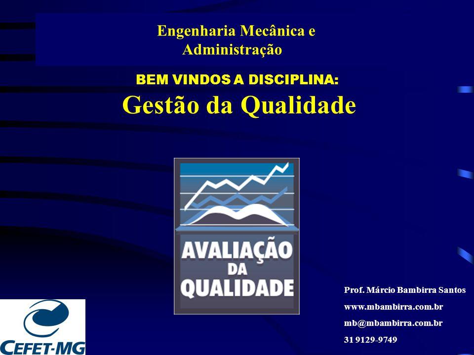 BEM VINDOS A DISCIPLINA: Gestão da Qualidade Engenharia Mecânica e Administração Prof. Márcio Bambirra Santos www.mbambirra.com.br mb@mbambirra.com.br