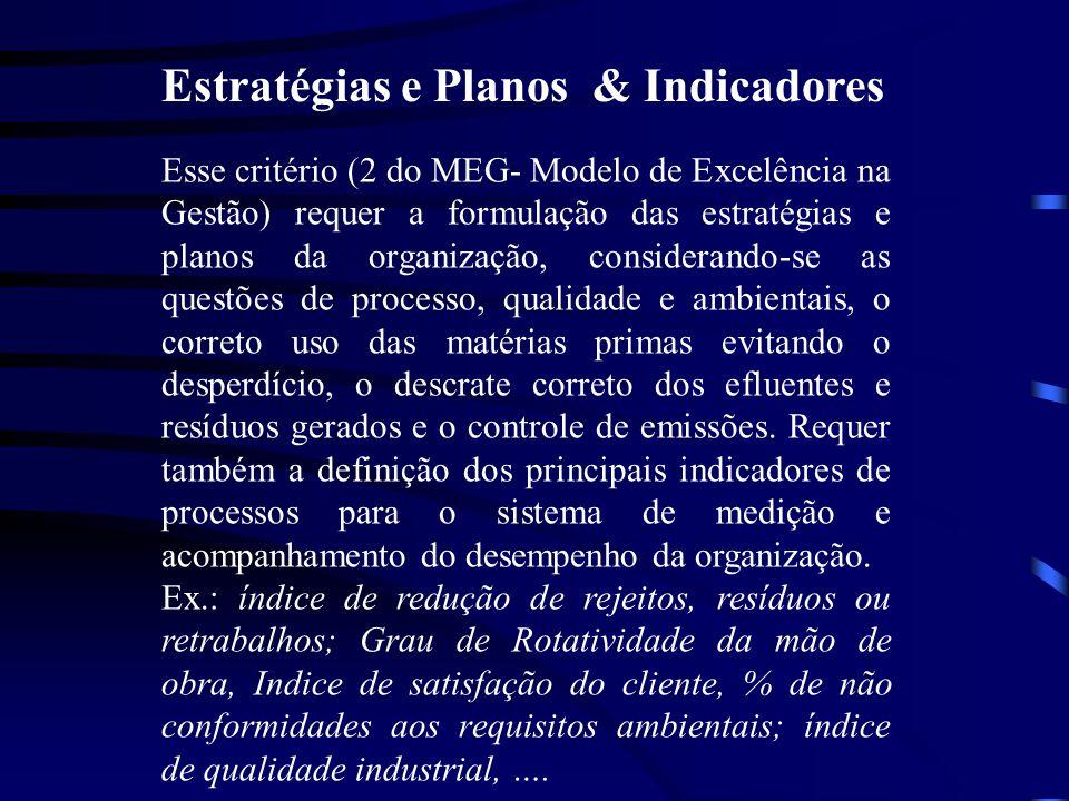 Estratégias e Planos & Indicadores Esse critério (2 do MEG- Modelo de Excelência na Gestão) requer a formulação das estratégias e planos da organizaçã