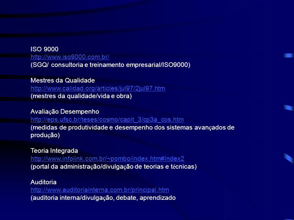 ISO 9000 http://www.iso9000.com.br/ (SGQ/ consultoria e treinamento empresarial/ISO9000) Mestres da Qualidade http://www.calidad.org/articles/jul97/2j