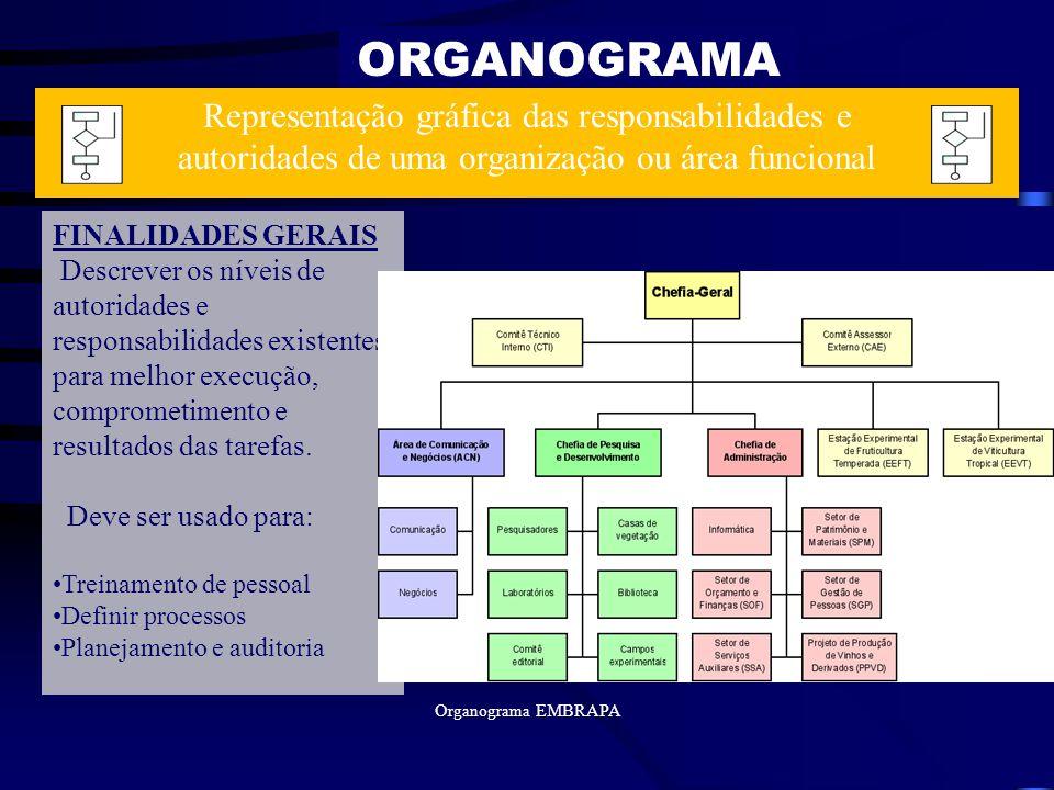 ORGANOGRAMA FINALIDADES GERAIS Descrever os níveis de autoridades e responsabilidades existentes para melhor execução, comprometimento e resultados da