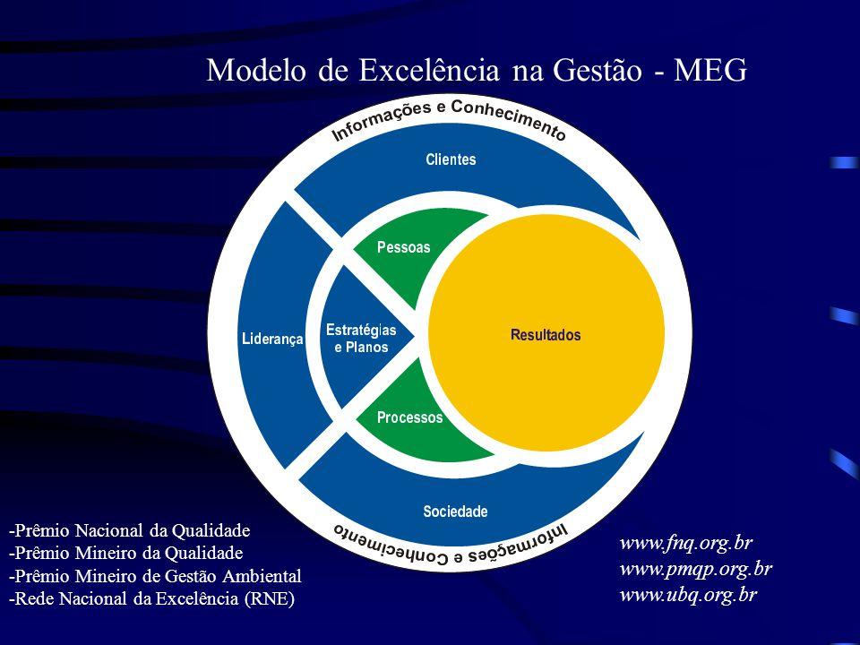 Modelo de Excelência na Gestão - MEG -Prêmio Nacional da Qualidade -Prêmio Mineiro da Qualidade -Prêmio Mineiro de Gestão Ambiental -Rede Nacional da