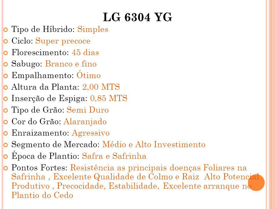 LG 6304 YG Tipo de Híbrido: Simples Ciclo: Super precoce Florescimento: 45 dias Sabugo: Branco e fino Empalhamento: Ótimo Altura da Planta: 2,00 MTS I