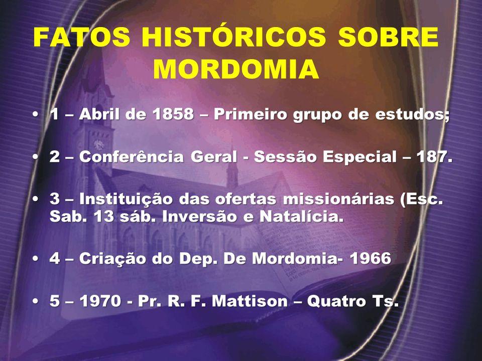 FATOS HISTÓRICOS SOBRE MORDOMIA 1 – Abril de 1858 – Primeiro grupo de estudos;1 – Abril de 1858 – Primeiro grupo de estudos; 2 – Conferência Geral - Sessão Especial – 187.2 – Conferência Geral - Sessão Especial – 187.