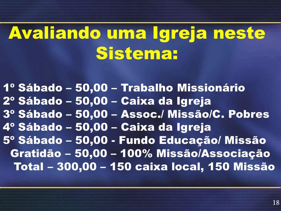 Avaliando uma Igreja neste Sistema: 1º Sábado – 50,00 – Trabalho Missionário 2º Sábado – 50,00 – Caixa da Igreja 3º Sábado – 50,00 – Assoc./ Missão/C.