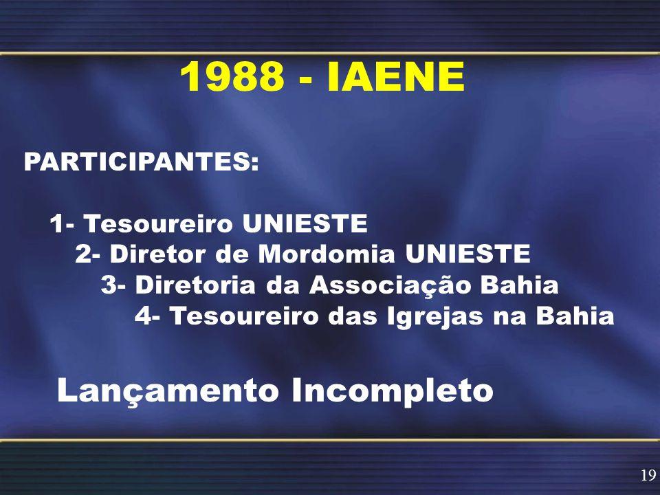 1988 - IAENE PARTICIPANTES: 1- Tesoureiro UNIESTE 2- Diretor de Mordomia UNIESTE 3- Diretoria da Associação Bahia 4- Tesoureiro das Igrejas na Bahia Lançamento Incompleto 19