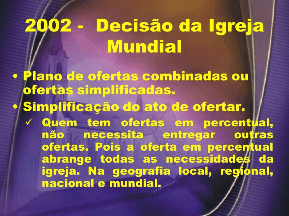 2002 - Decisão da Igreja Mundial Plano de ofertas combinadas ou ofertas simplificadas.