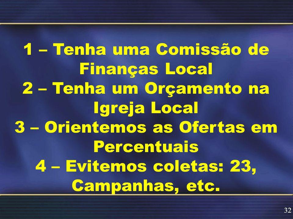 1 – Tenha uma Comissão de Finanças Local 2 – Tenha um Orçamento na Igreja Local 3 – Orientemos as Ofertas em Percentuais 4 – Evitemos coletas: 23, Campanhas, etc.