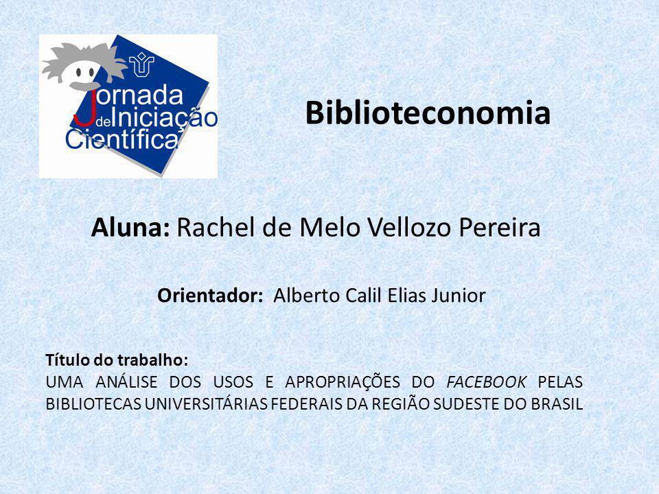 Biblioteconomia Aluna: Rachel de Melo Vellozo Pereira Título do trabalho: UMA ANÁLISE DOS USOS E APROPRIAÇÕES DO FACEBOOK PELAS BIBLIOTECAS UNIVERSITÁ