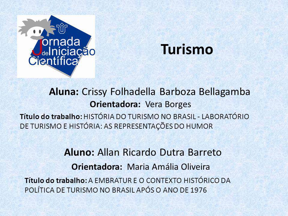 Turismo Aluna: Crissy Folhadella Barboza Bellagamba Título do trabalho: HISTÓRIA DO TURISMO NO BRASIL - LABORATÓRIO DE TURISMO E HISTÓRIA: AS REPRESEN