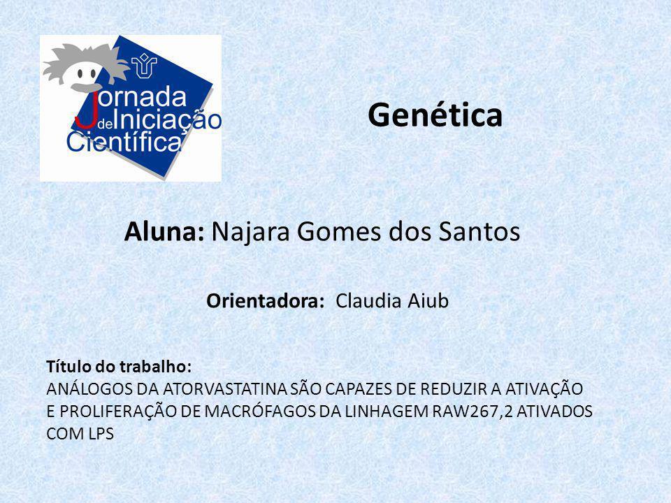 Genética Aluna: Najara Gomes dos Santos Título do trabalho: ANÁLOGOS DA ATORVASTATINA SÃO CAPAZES DE REDUZIR A ATIVAÇÃO E PROLIFERAÇÃO DE MACRÓFAGOS D