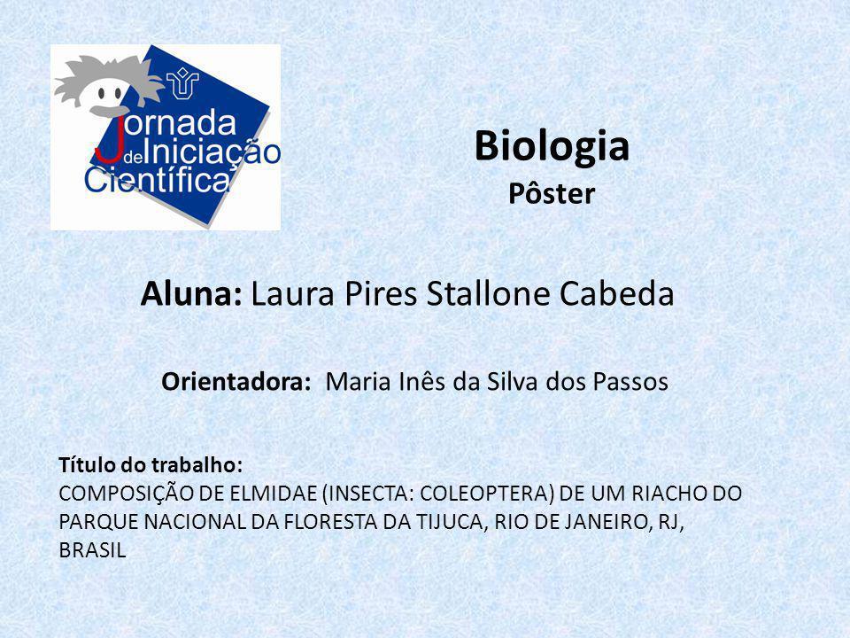 Biologia Pôster Aluna: Laura Pires Stallone Cabeda Título do trabalho: COMPOSIÇÃO DE ELMIDAE (INSECTA: COLEOPTERA) DE UM RIACHO DO PARQUE NACIONAL DA