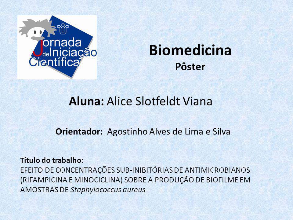 Biomedicina Pôster Aluna: Alice Slotfeldt Viana Título do trabalho: EFEITO DE CONCENTRAÇÕES SUB-INIBITÓRIAS DE ANTIMICROBIANOS (RIFAMPICINA E MINOCICL