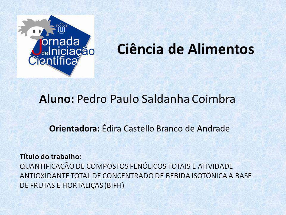 Ciência de Alimentos Aluno: Pedro Paulo Saldanha Coimbra Título do trabalho: QUANTIFICAÇÃO DE COMPOSTOS FENÓLICOS TOTAIS E ATIVIDADE ANTIOXIDANTE TOTA
