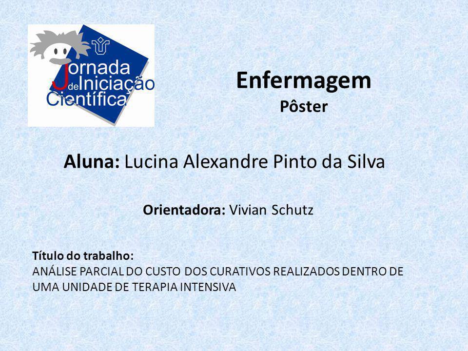 Enfermagem Pôster Aluna: Lucina Alexandre Pinto da Silva Título do trabalho: ANÁLISE PARCIAL DO CUSTO DOS CURATIVOS REALIZADOS DENTRO DE UMA UNIDADE D