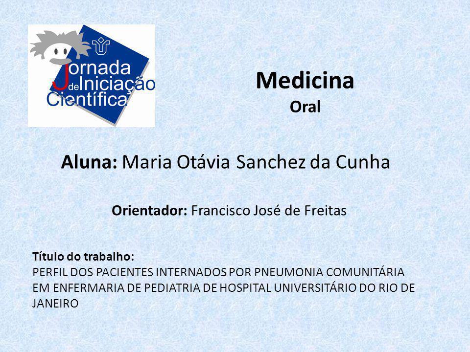 Medicina Oral Aluna: Maria Otávia Sanchez da Cunha Título do trabalho: PERFIL DOS PACIENTES INTERNADOS POR PNEUMONIA COMUNITÁRIA EM ENFERMARIA DE PEDI
