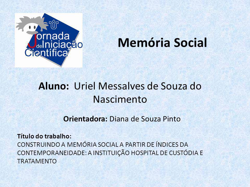 Memória Social Aluno: Uriel Messalves de Souza do Nascimento Título do trabalho: CONSTRUINDO A MEMÓRIA SOCIAL A PARTIR DE ÍNDICES DA CONTEMPORANEIDADE