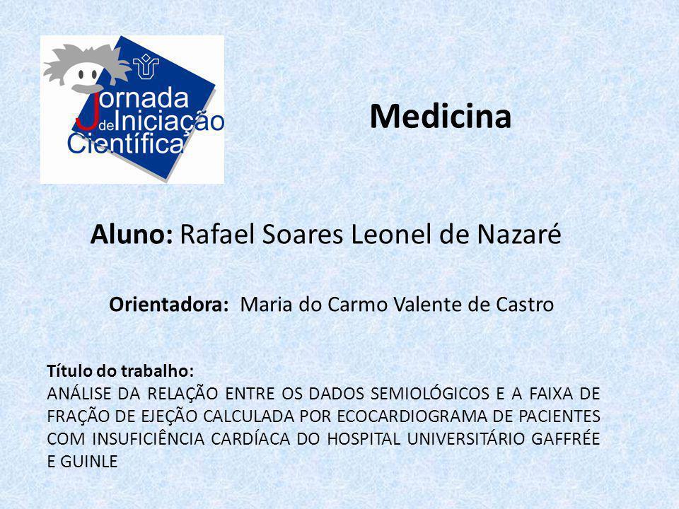Medicina Aluno: Rafael Soares Leonel de Nazaré Título do trabalho: ANÁLISE DA RELAÇÃO ENTRE OS DADOS SEMIOLÓGICOS E A FAIXA DE FRAÇÃO DE EJEÇÃO CALCUL