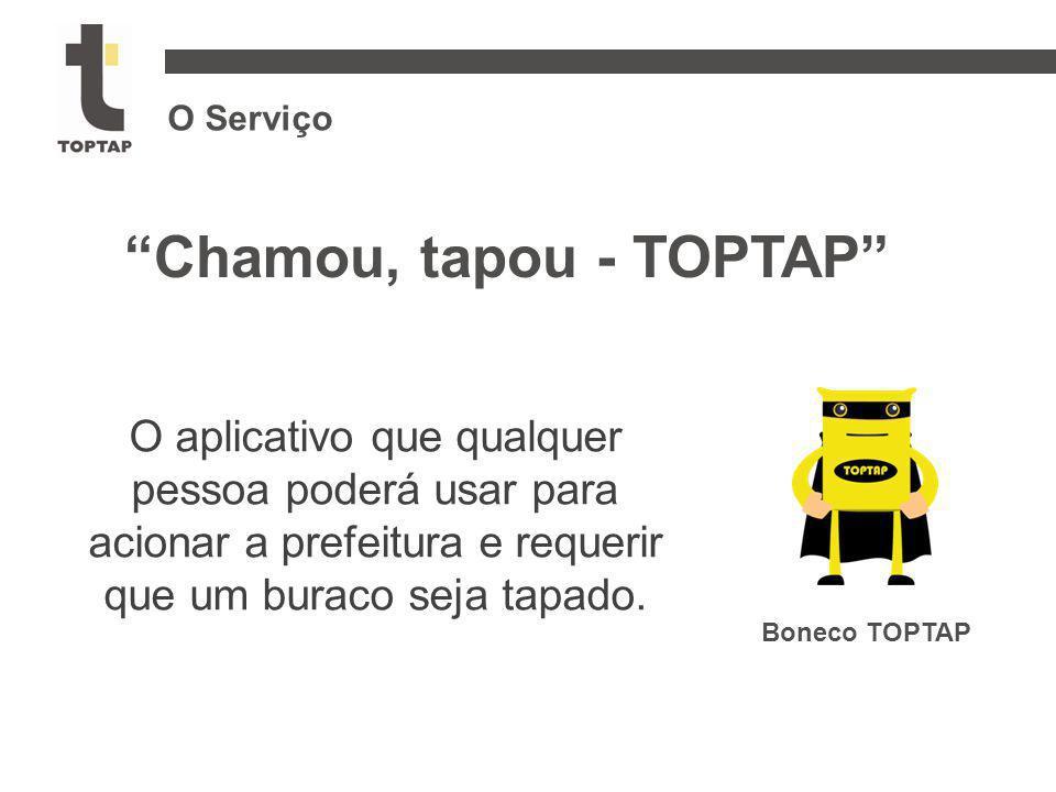 """O Serviço Boneco TOPTAP """"Chamou, tapou - TOPTAP"""" O aplicativo que qualquer pessoa poderá usar para acionar a prefeitura e requerir que um buraco seja"""