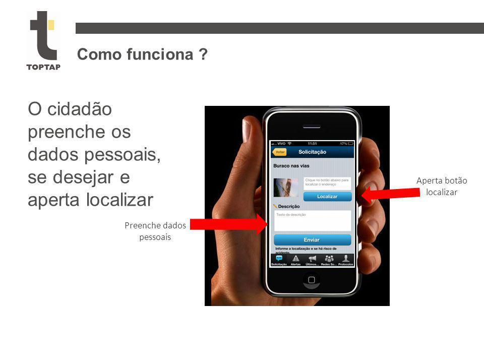 Como funciona ? O cidadão preenche os dados pessoais, se desejar e aperta localizar Aperta botão localizar Preenche dados pessoais