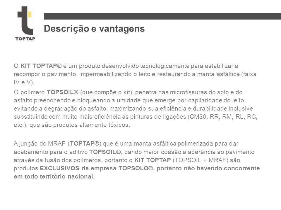 O KIT TOPTAP® é um produto desenvolvido tecnologicamente para estabilizar e recompor o pavimento, impermeabilizando o leito e restaurando a manta asfá