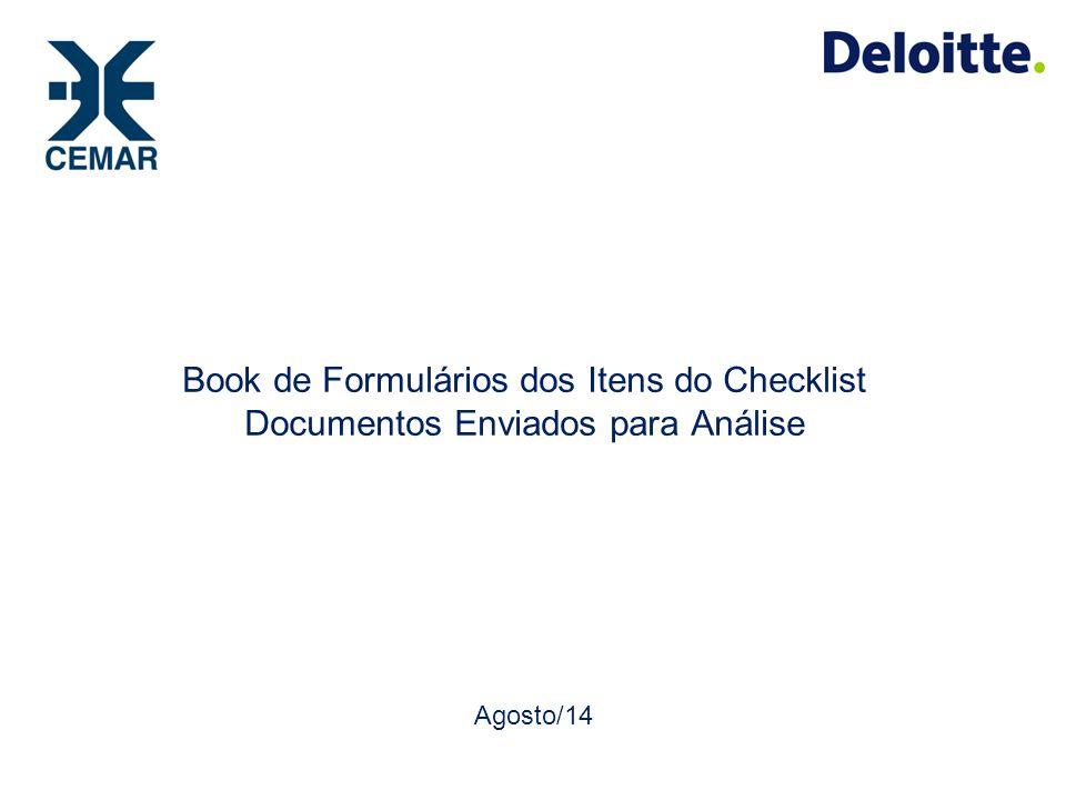 Book de Formulários dos Itens do Checklist Documentos Enviados para Análise Agosto/14