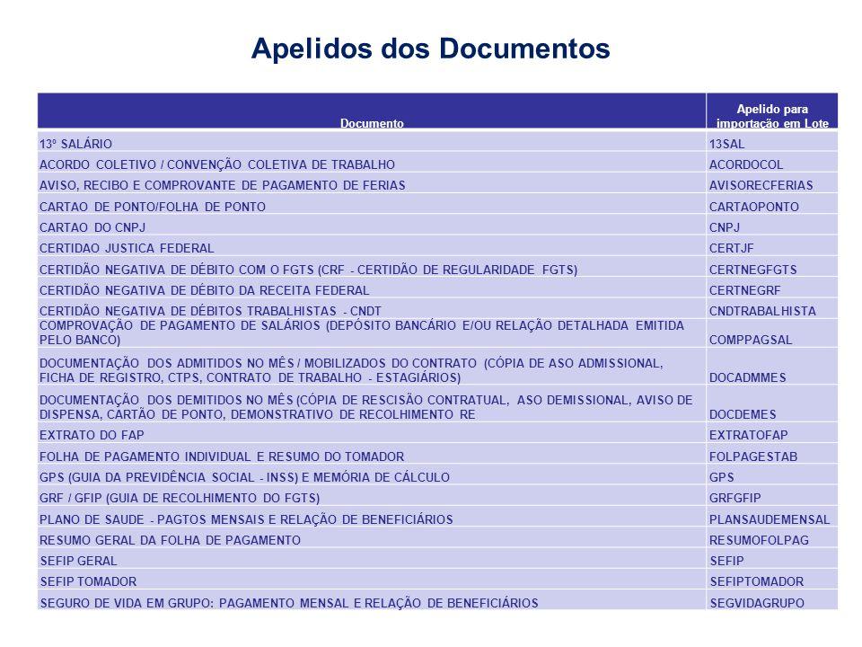 Documento Apelido para importação em Lote 13º SALÁRIO13SAL ACORDO COLETIVO / CONVENÇÃO COLETIVA DE TRABALHOACORDOCOL AVISO, RECIBO E COMPROVANTE DE PA