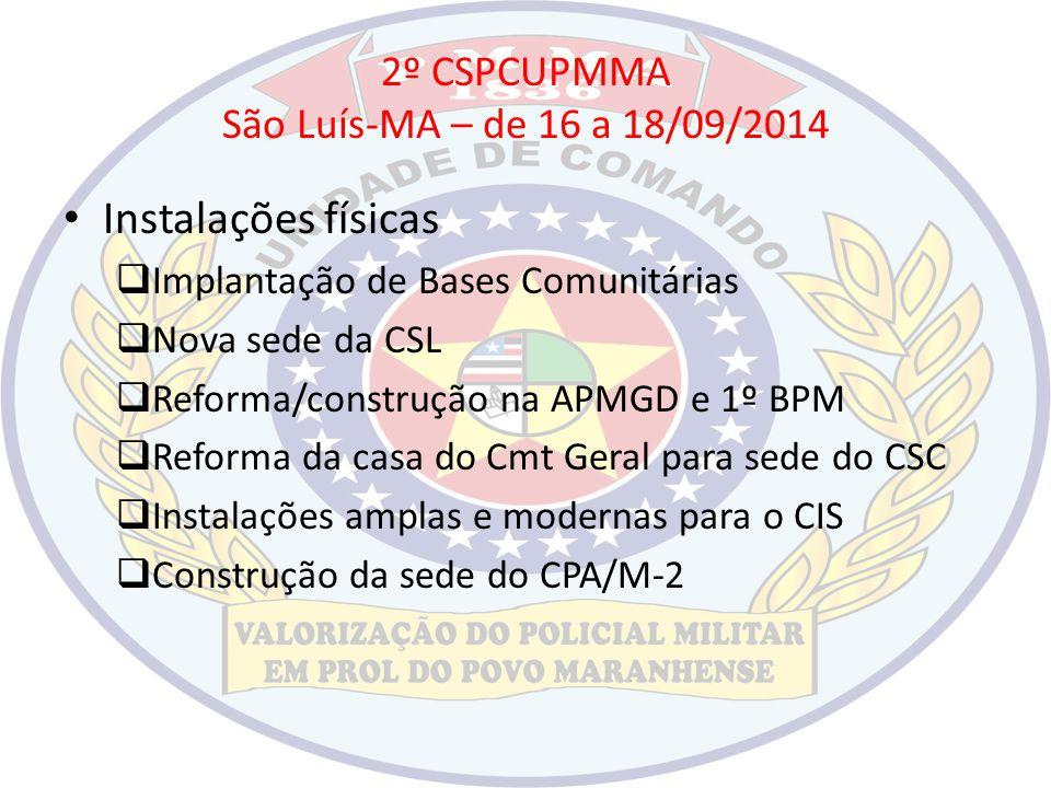 2º CSPCUPMMA São Luís-MA – de 16 a 18/09/2014 Instalações físicas  Implantação de Bases Comunitárias  Nova sede da CSL  Reforma/construção na APMGD