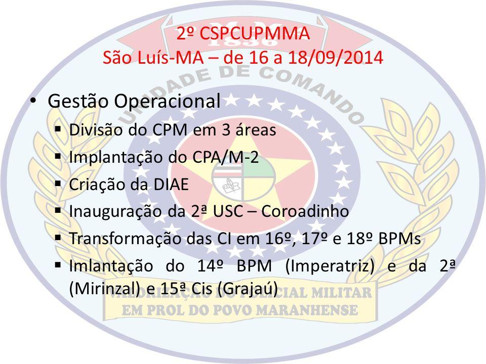 2º CSPCUPMMA São Luís-MA – de 16 a 18/09/2014 Gestão Operacional  Divisão do CPM em 3 áreas  Implantação do CPA/M-2  Criação da DIAE  Inauguração