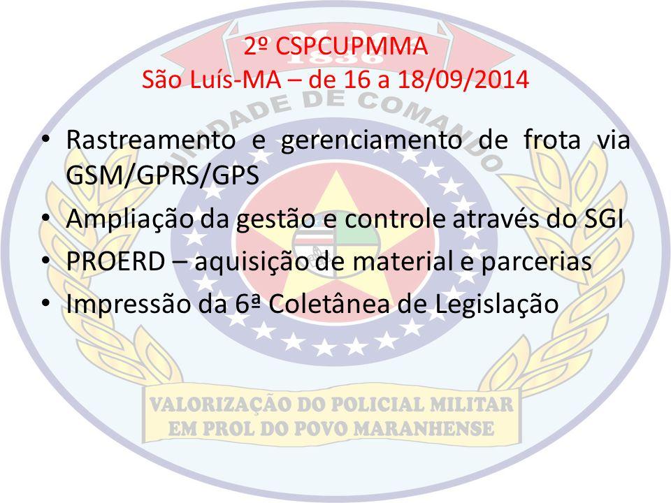 2º CSPCUPMMA São Luís-MA – de 16 a 18/09/2014 Rastreamento e gerenciamento de frota via GSM/GPRS/GPS Ampliação da gestão e controle através do SGI PRO