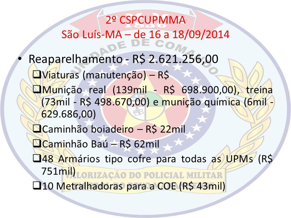2º CSPCUPMMA São Luís-MA – de 16 a 18/09/2014 Reaparelhamento - R$ 2.621.256,00  Viaturas (manutenção) – R$  Munição real (139mil - R$ 698.900,00),