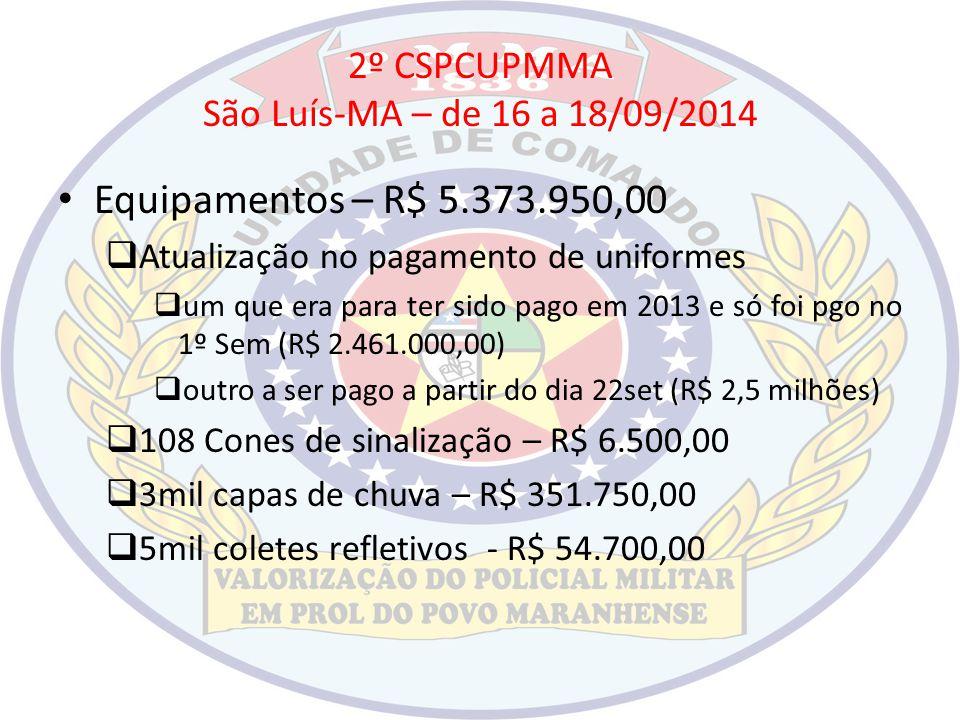 2º CSPCUPMMA São Luís-MA – de 16 a 18/09/2014 Equipamentos – R$ 5.373.950,00  Atualização no pagamento de uniformes  um que era para ter sido pago e