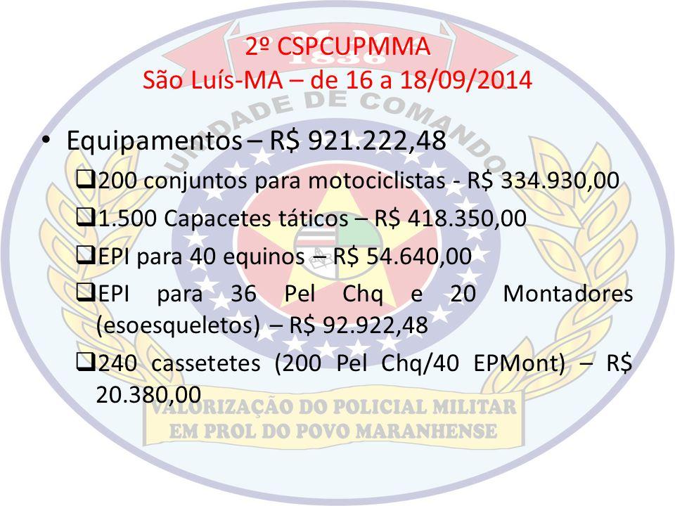2º CSPCUPMMA São Luís-MA – de 16 a 18/09/2014 Equipamentos – R$ 921.222,48  200 conjuntos para motociclistas - R$ 334.930,00  1.500 Capacetes tático
