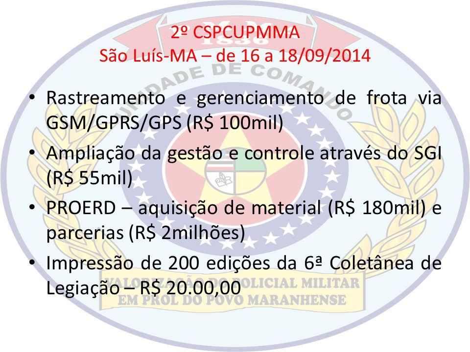 2º CSPCUPMMA São Luís-MA – de 16 a 18/09/2014 Rastreamento e gerenciamento de frota via GSM/GPRS/GPS (R$ 100mil) Ampliação da gestão e controle atravé