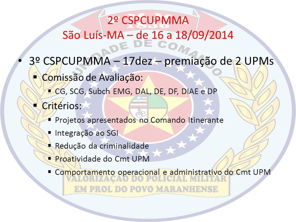 2º CSPCUPMMA São Luís-MA – de 16 a 18/09/2014 3º CSPCUPMMA – 17dez – premiação de 2 UPMs  Comissão de Avaliação:  CG, SCG, Subch EMG, DAL, DE, DF, D