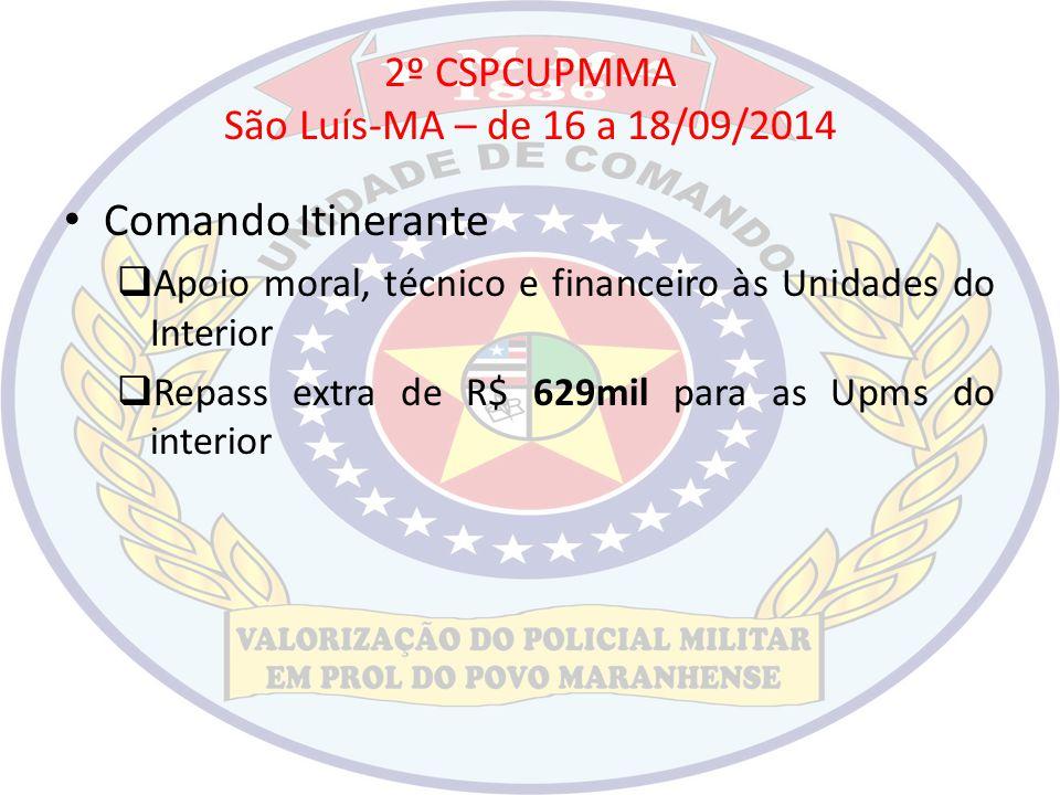 2º CSPCUPMMA São Luís-MA – de 16 a 18/09/2014 Comando Itinerante  Apoio moral, técnico e financeiro às Unidades do Interior  Repass extra de R$ 629m