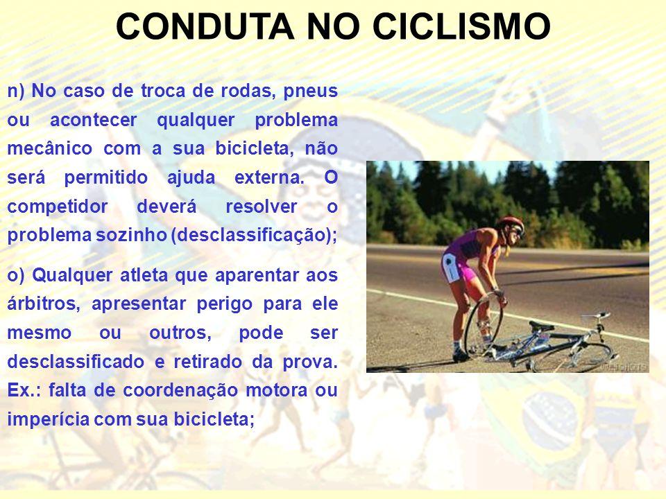 CONDUTA NO CICLISMO n) No caso de troca de rodas, pneus ou acontecer qualquer problema mecânico com a sua bicicleta, não será permitido ajuda externa.