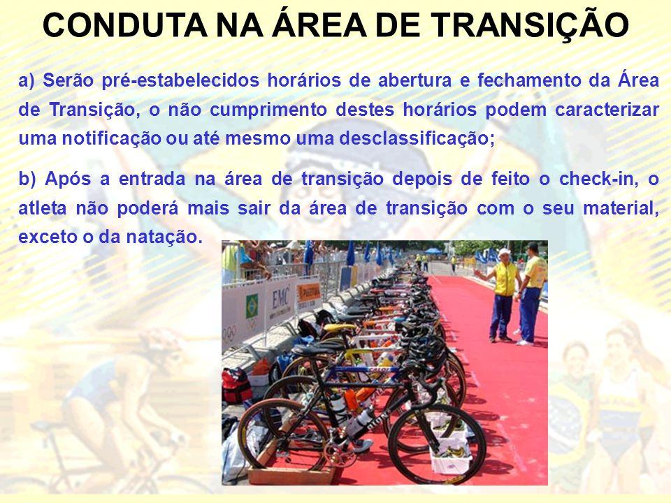CONDUTA NA ÁREA DE TRANSIÇÃO a) Serão pré-estabelecidos horários de abertura e fechamento da Área de Transição, o não cumprimento destes horários pode