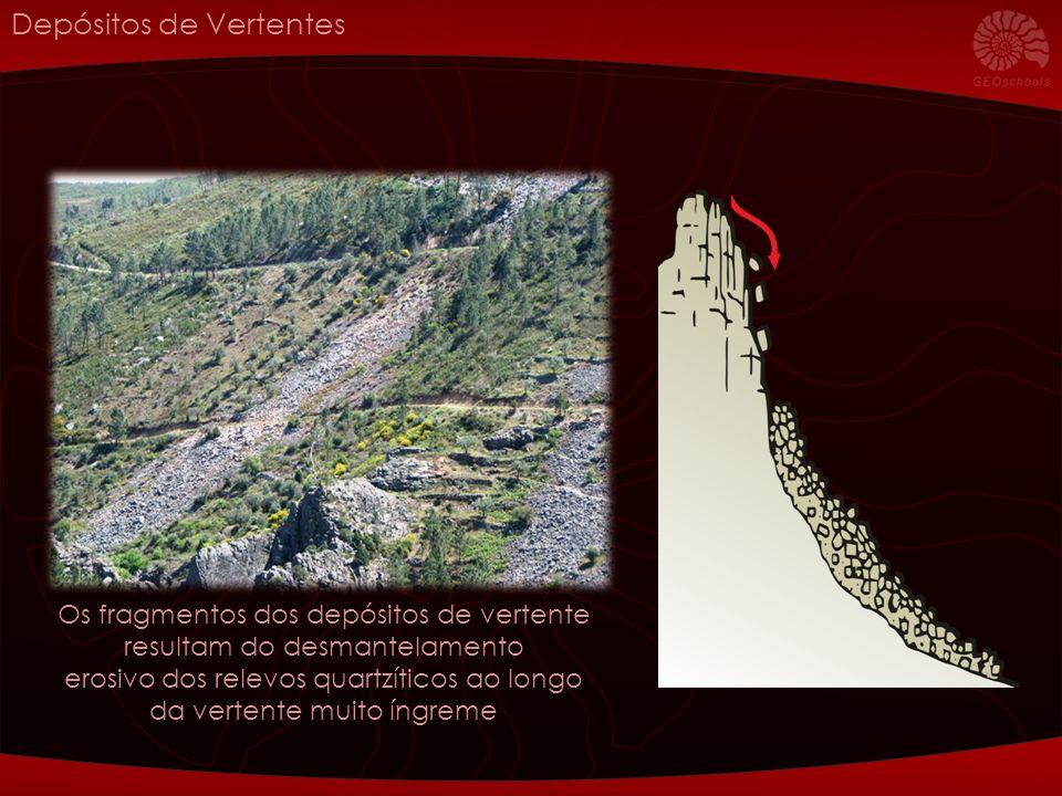 Depósitos de Vertentes Os fragmentos dos depósitos de vertente resultam do desmantelamento erosivo dos relevos quartzíticos ao longo da vertente muito íngreme