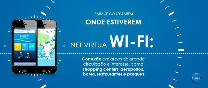 NET VIRTUA WI-FI: PARA SE CONECTAREM ONDE ESTIVEREM Conexão em áreas de grande circulação e interesse, como shopping centers, aeroportos, bares, restaurantes e parques