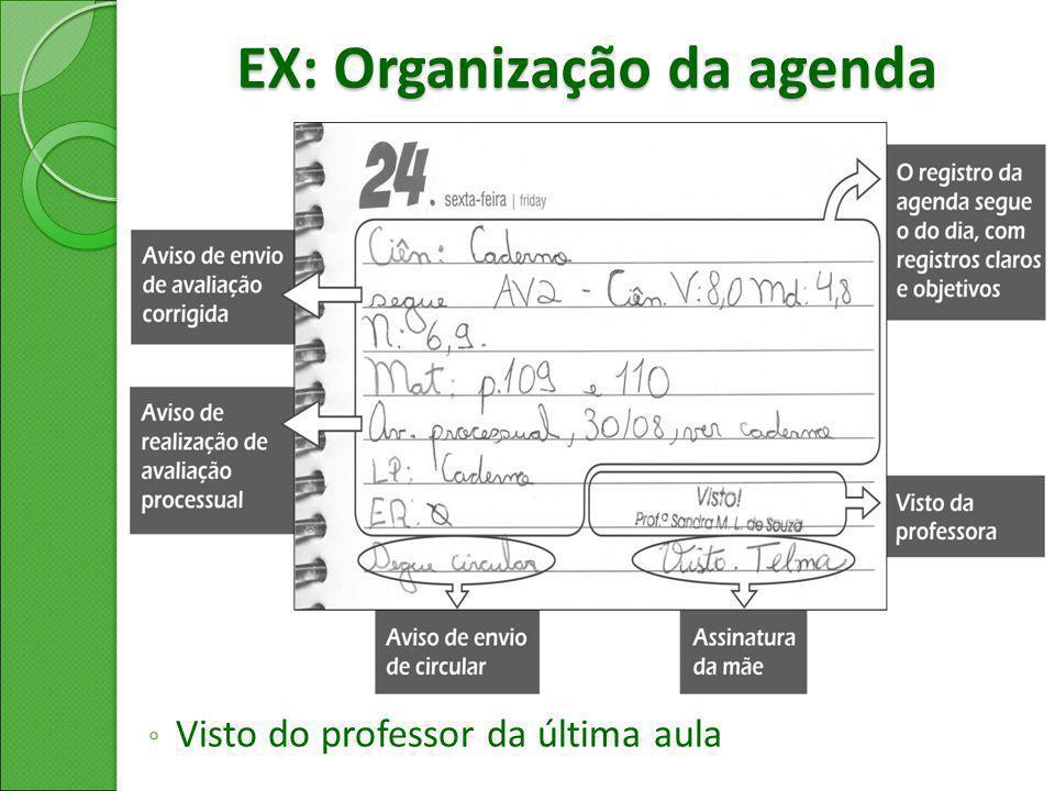 EX: Organização da agenda ◦ Visto do professor da última aula