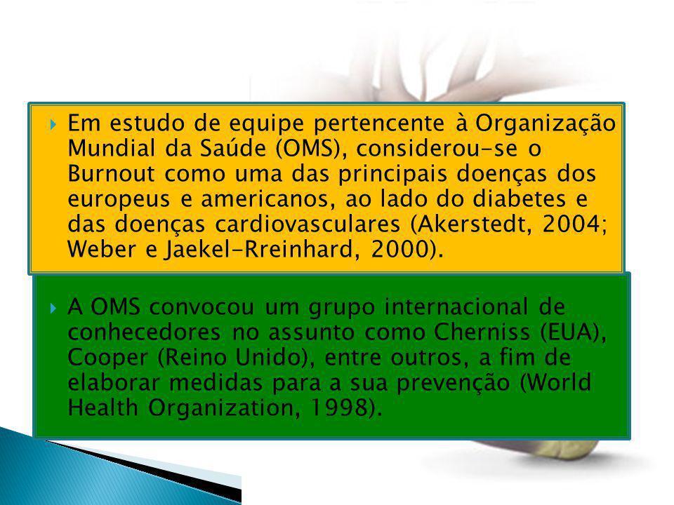  Em estudo de equipe pertencente à Organização Mundial da Saúde (OMS), considerou-se o Burnout como uma das principais doenças dos europeus e america
