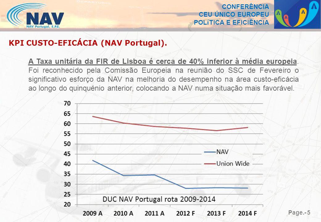 CONFERÊNCIA CEU ÚNICO EUROPEU POLíTICA E EFICIÊNCIA Page.- 5 KPI CUSTO-EFICÁCIA (NAV Portugal).