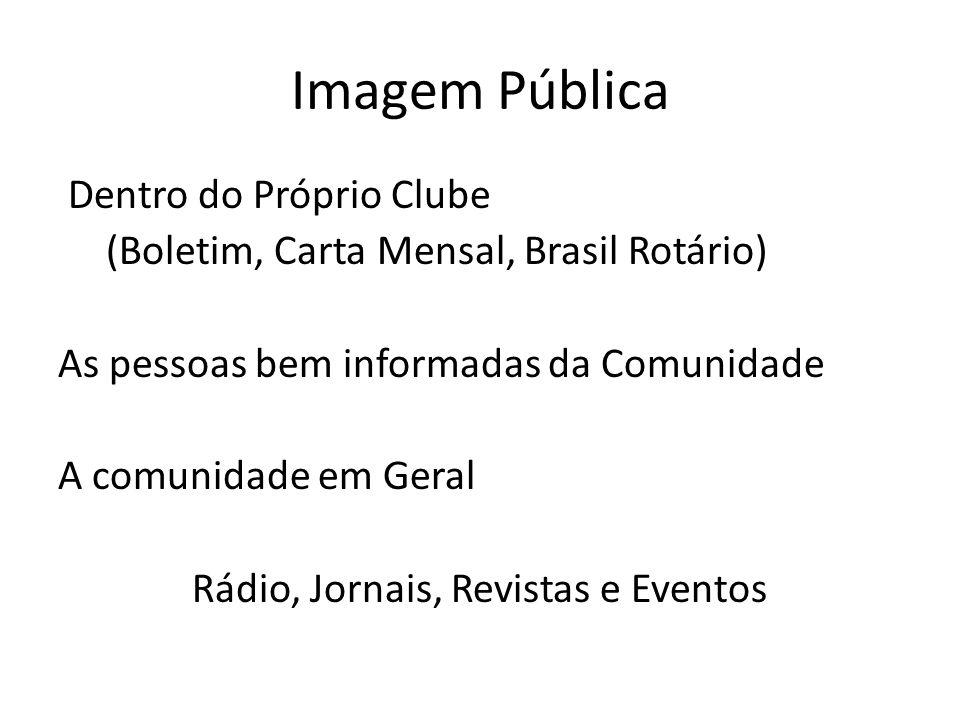 Imagem Pública Dentro do Próprio Clube (Boletim, Carta Mensal, Brasil Rotário) As pessoas bem informadas da Comunidade A comunidade em Geral Rádio, Jornais, Revistas e Eventos