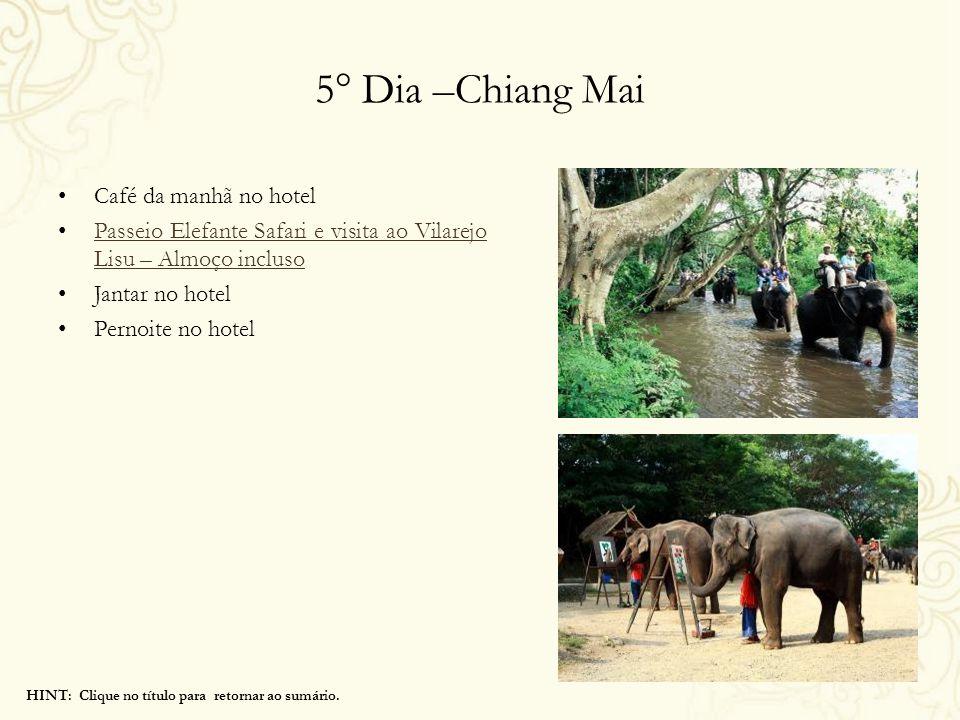 5° Dia –Chiang Mai Café da manhã no hotel Passeio Elefante Safari e visita ao Vilarejo Lisu – Almoço incluso Passeio Elefante Safari e visita ao Vilar